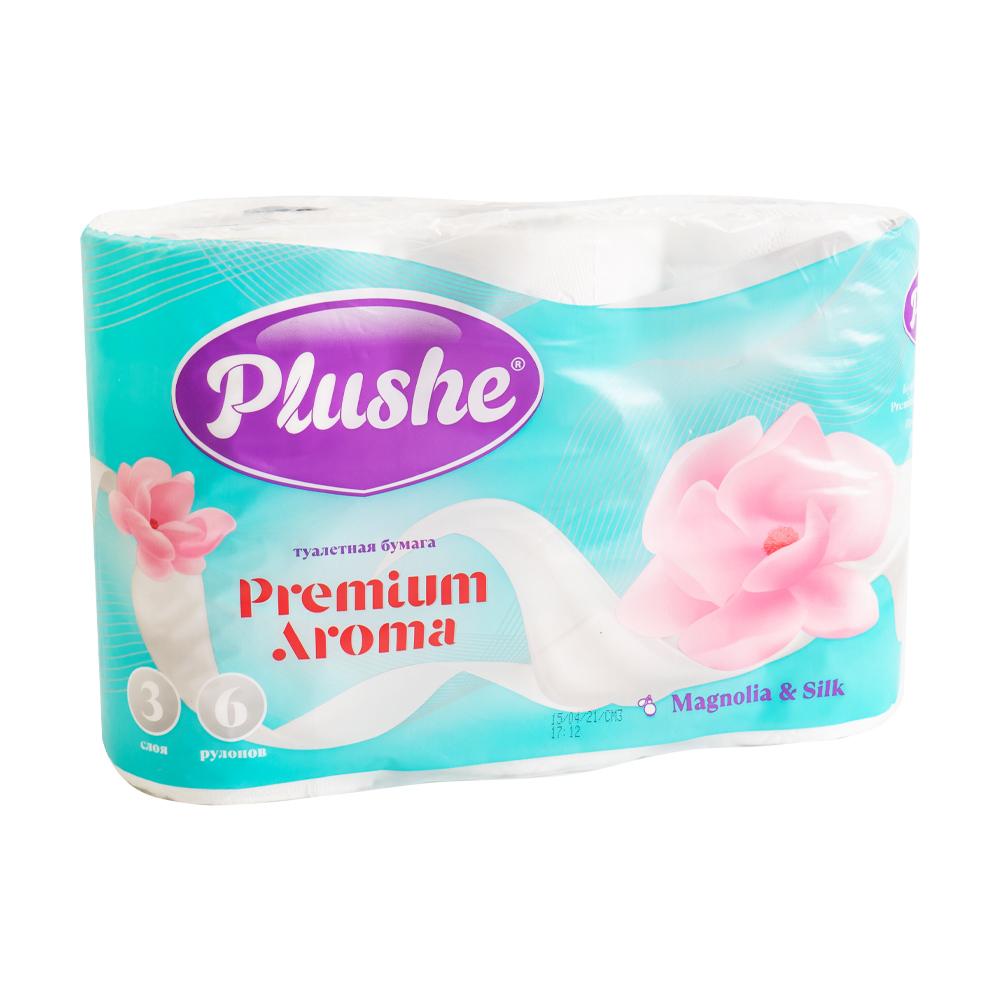 """Туалетная бумага """"Premium aroma"""", PLUSHE, 3 слоя, 6 рулонов, в ассортименте"""