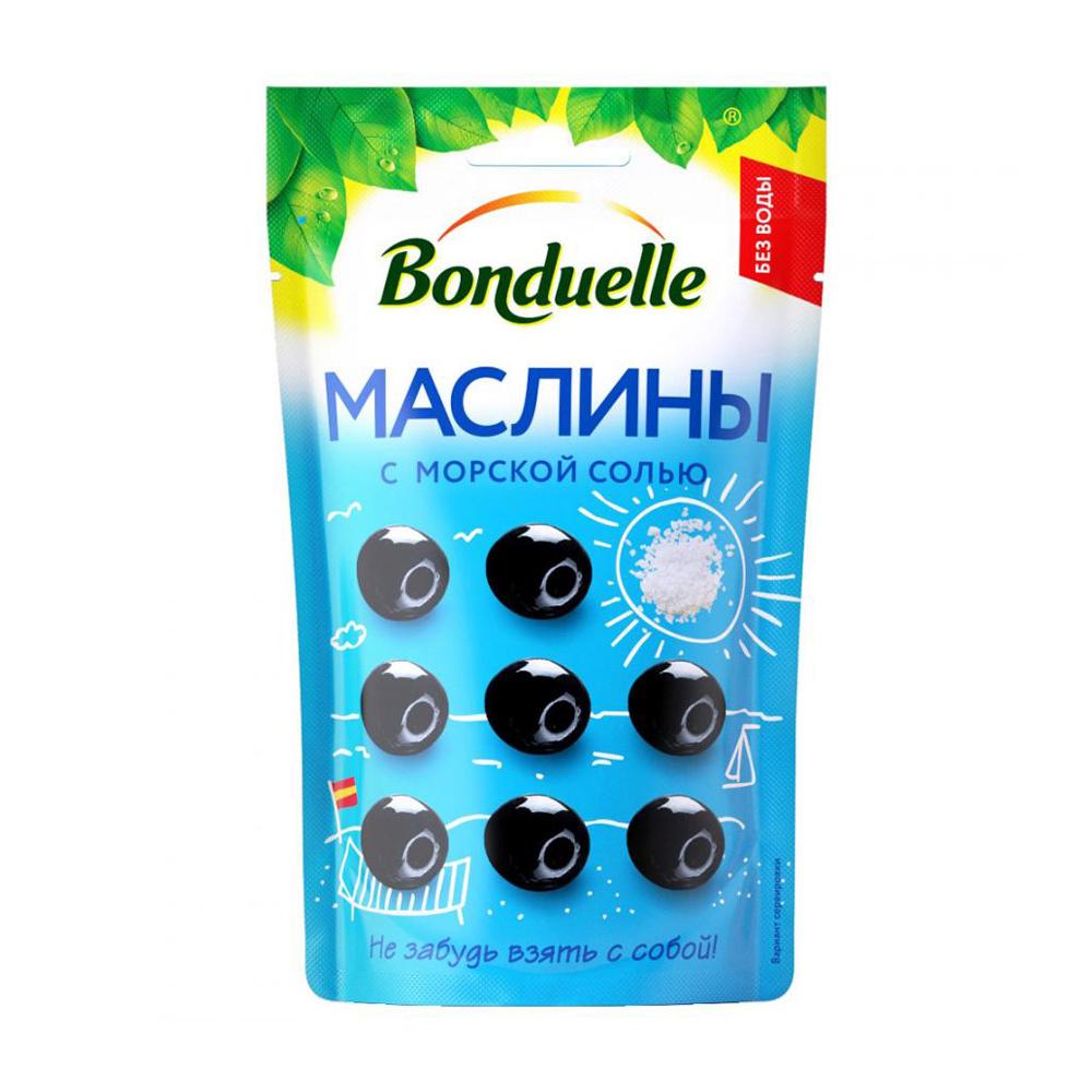 Маслины без косточки, Bonduelle, с морской солью, 70 г