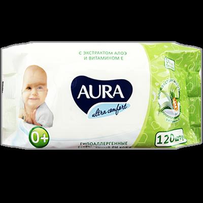 """Влажные салфетки для детей """"AURA"""", 120 шт"""