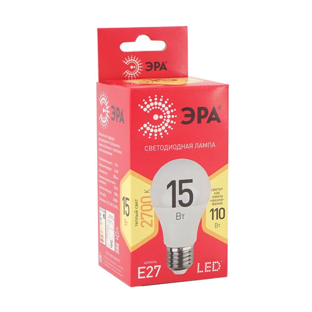 Лампа cветодиодная, ЭРА, E 27, 15 Вт, в ассортименте