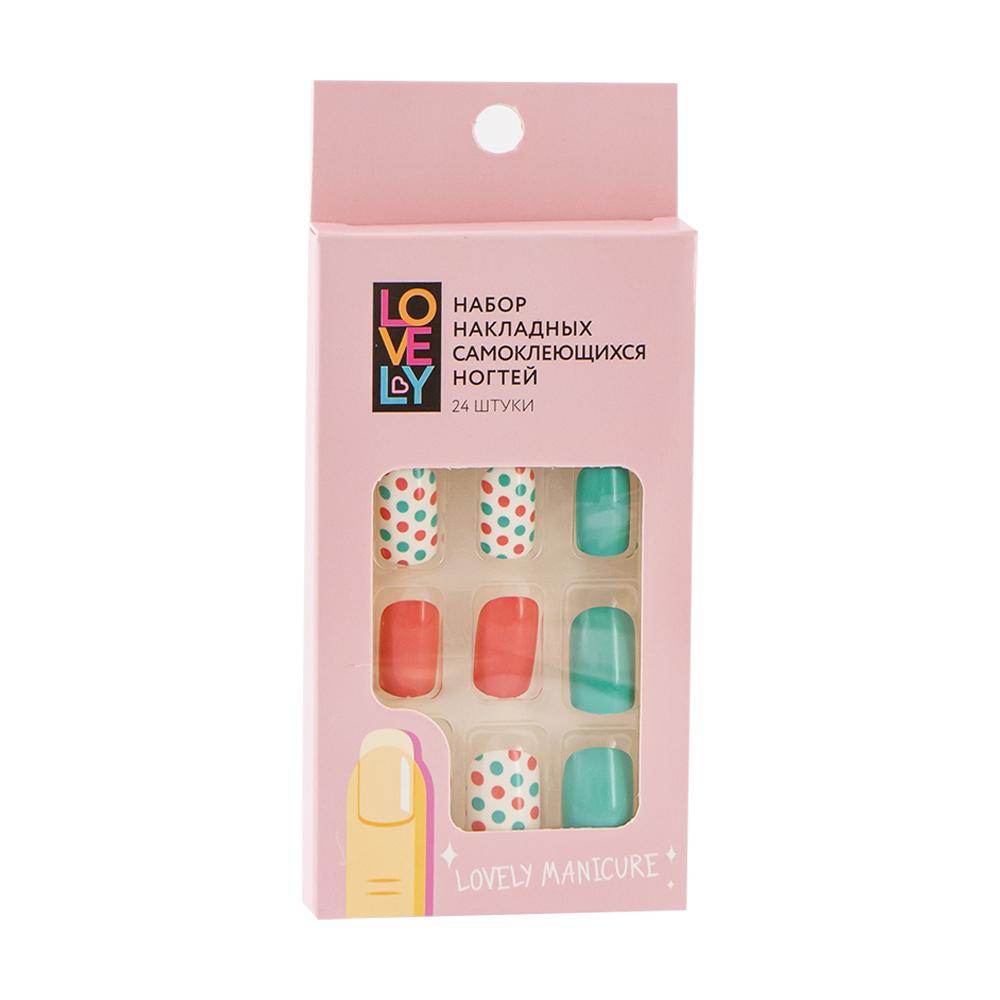 Набор накладных самоклеющихся ногтей, Lovely, 24 шт., в ассортименте