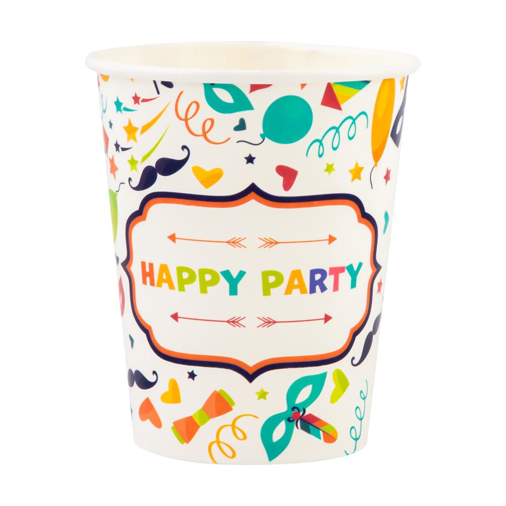 Стаканы бумажные праздничные, Party, 12 шт., в ассортименте