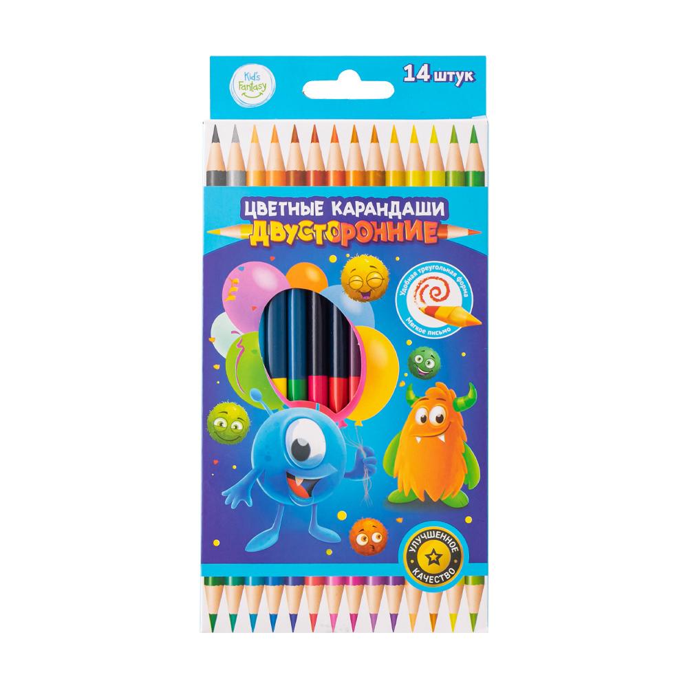 Набор цветных двусторонних карандашей, Kid`s Fantasy, 14 шт., в ассортименте