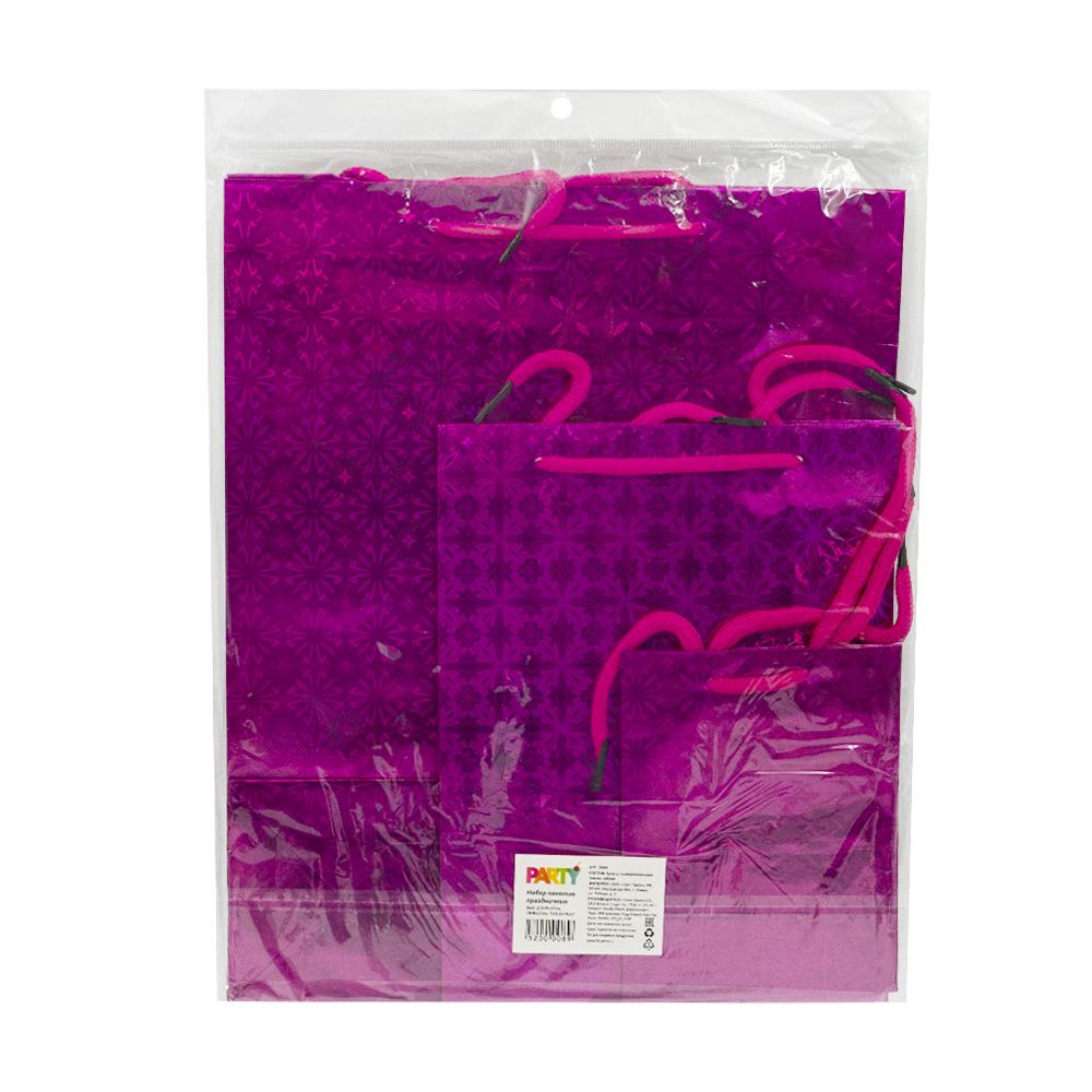 Набор пакетов праздничных, 3 шт, в ассортименте
