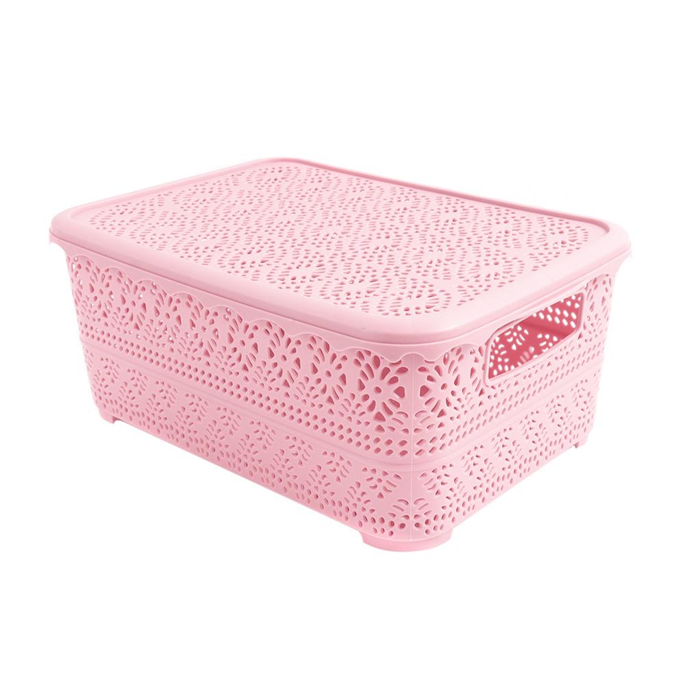 Коробка ажурная с крышкой, Home Time, 28х20х12 см, в ассортименте