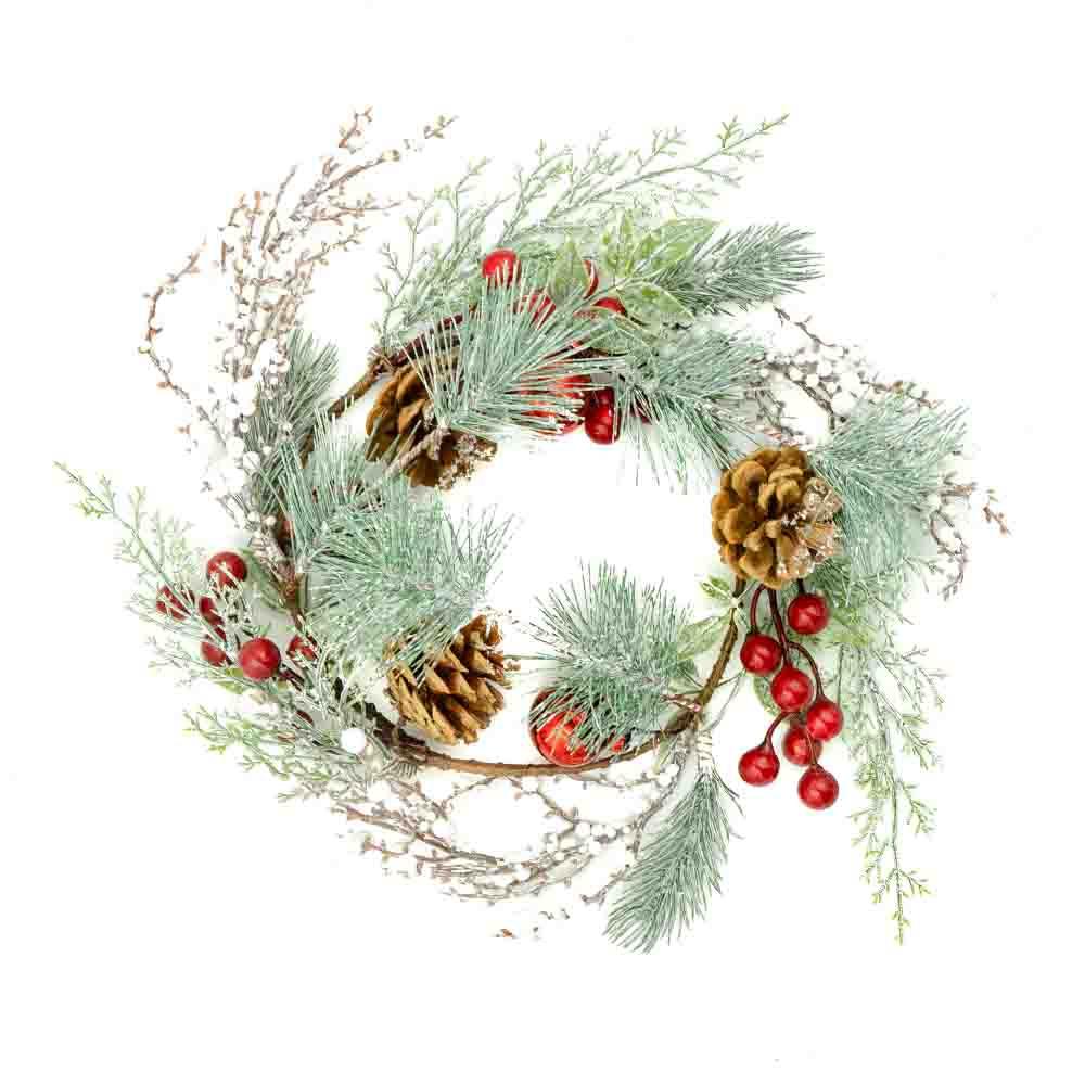 Венок рождественский, Снежное кружево, 15 см, в ассортименте