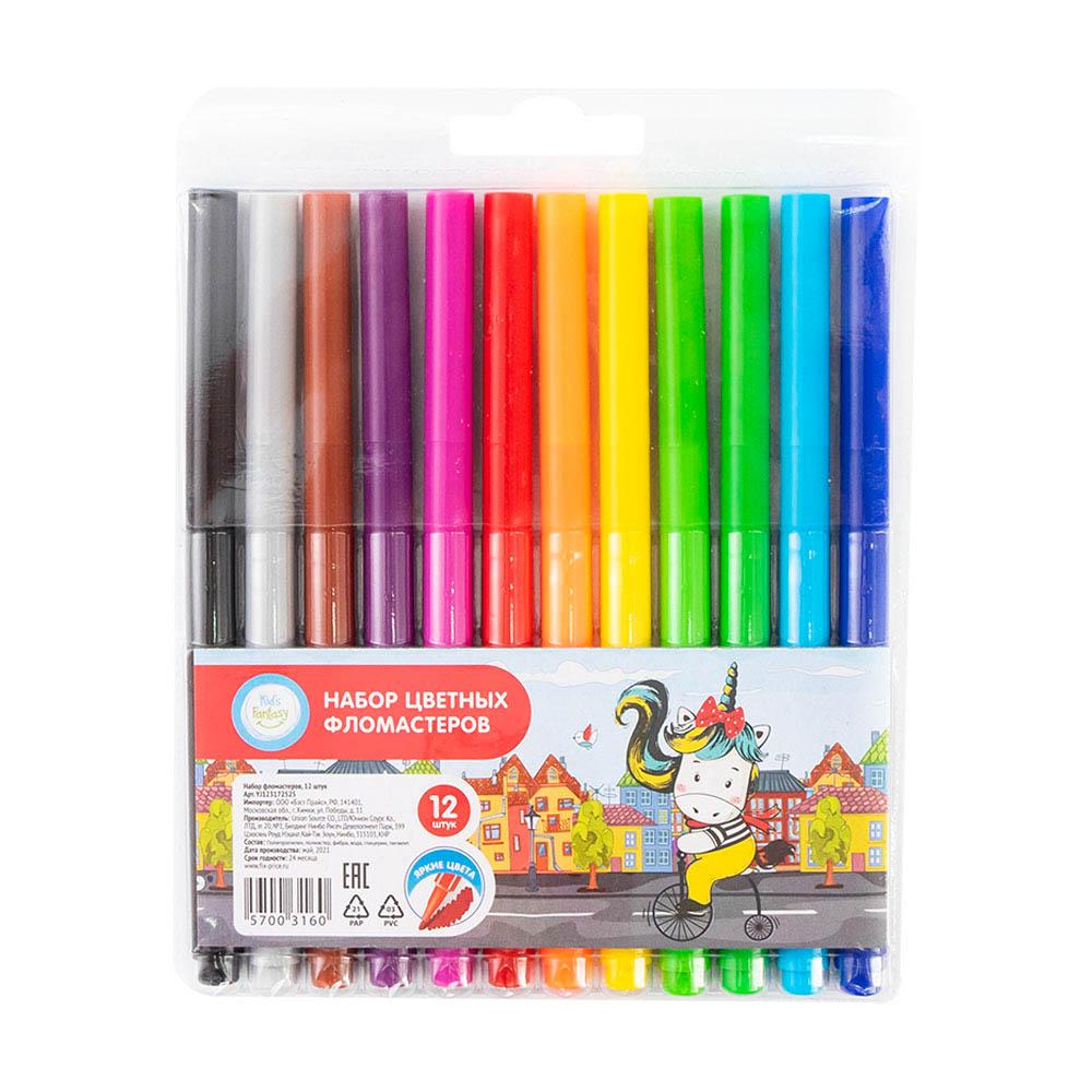 Набор цветных фломастеров, Kid's Fantasy, 12 шт., в ассортименте