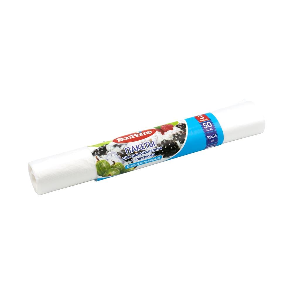 Пакеты для замораживания с завязками, 3 л, 50 шт