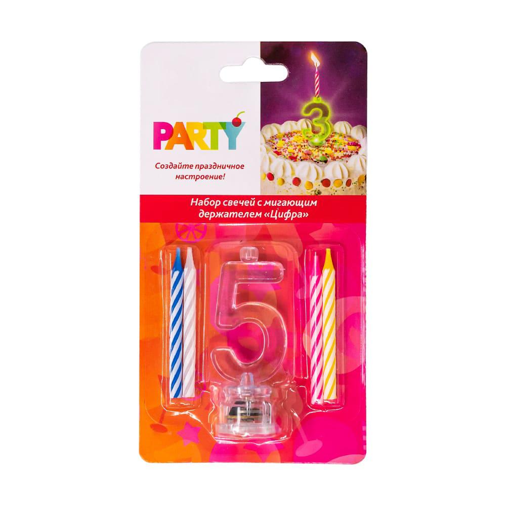 """Набор свечей с мигающим держателем """"Цифра"""", Party, в ассортименте"""