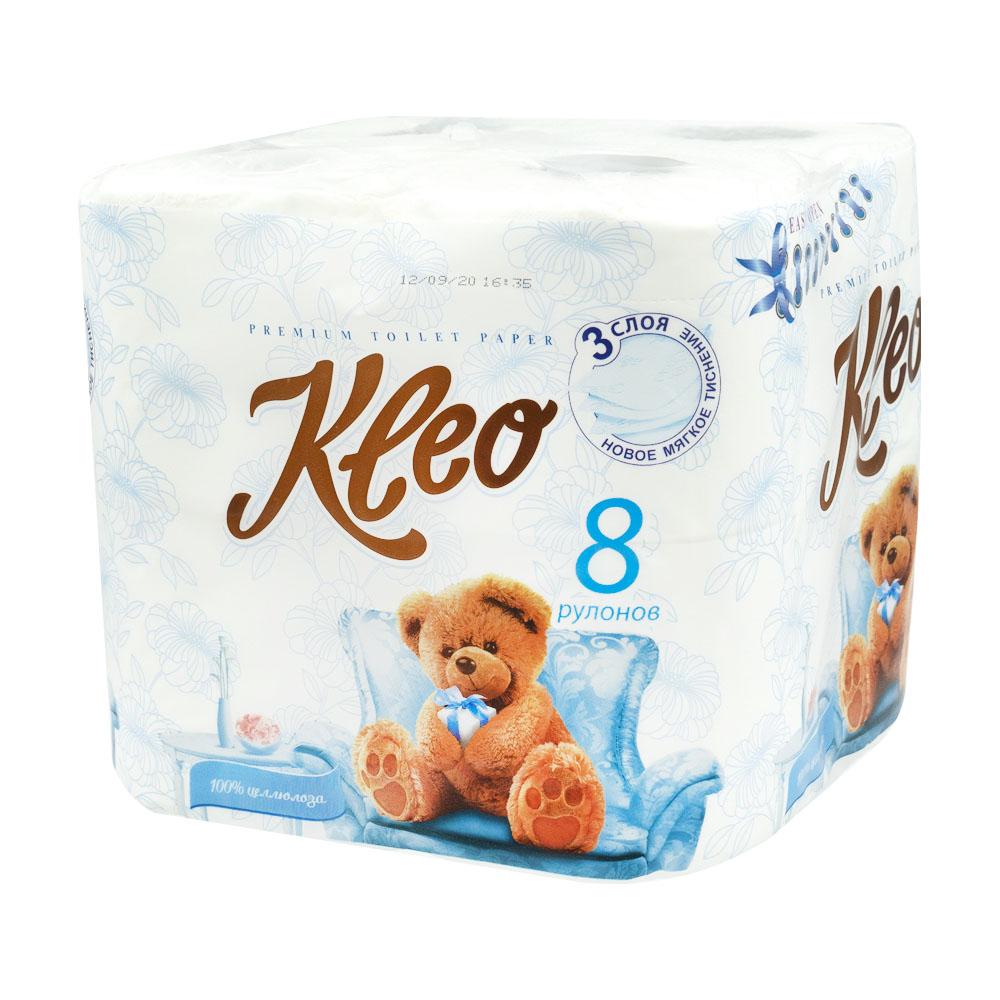 Туалетная бумага, Kleo Ultra, 3 слоя, 8 рулонов