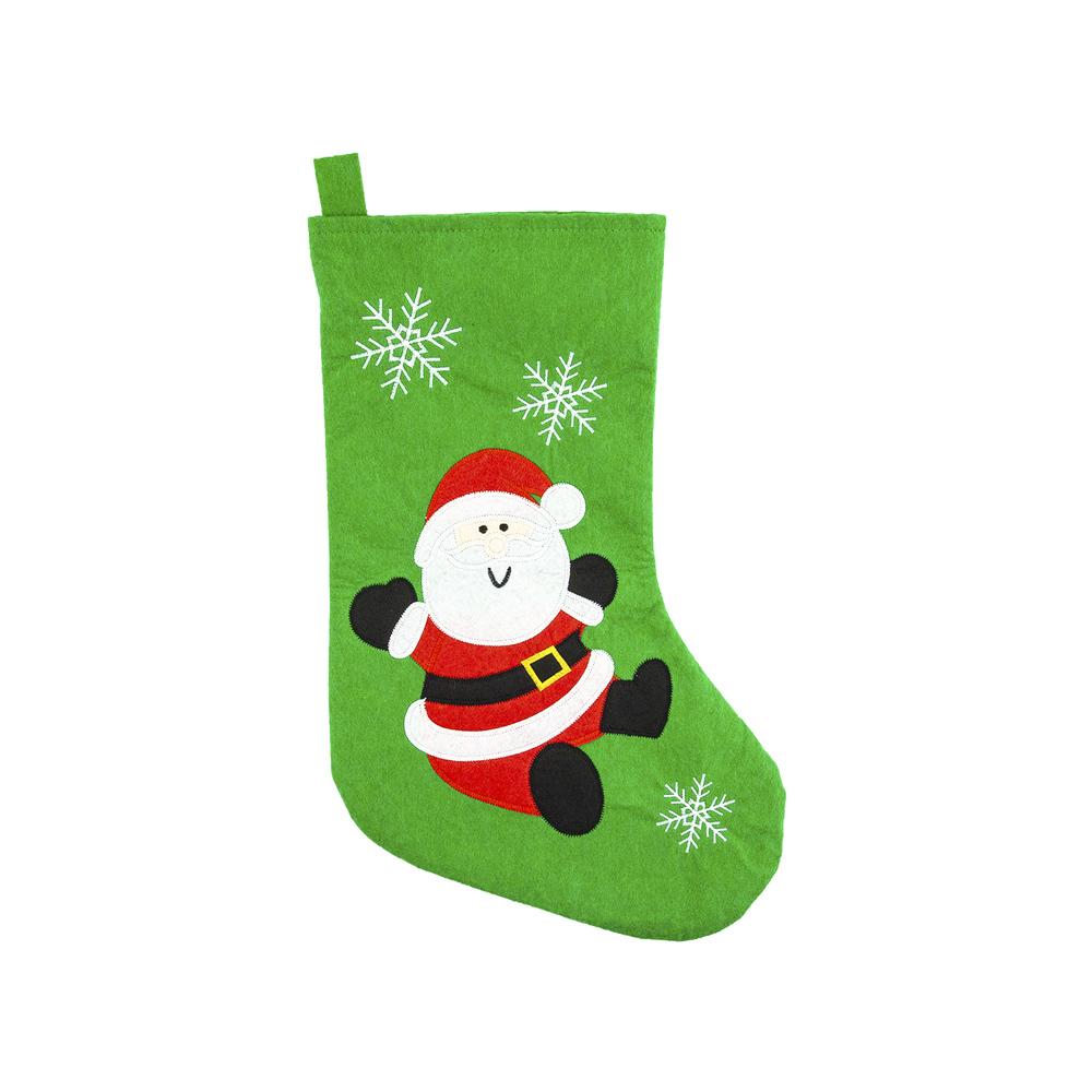 Носок рождественский для подарков, Снежное кружево, 27х45 см, в ассортименте
