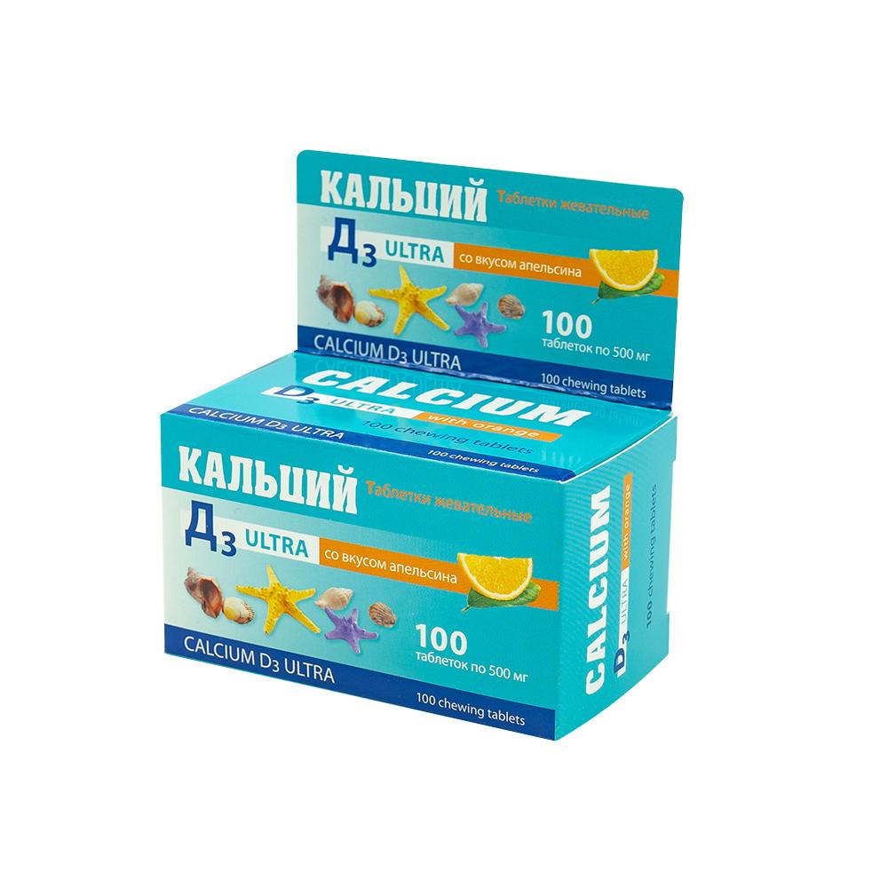 """Таблетки жевательные """"Кальций Д3 Ультра"""" со вкусом апельсина, 100 капсул по 500 мг"""