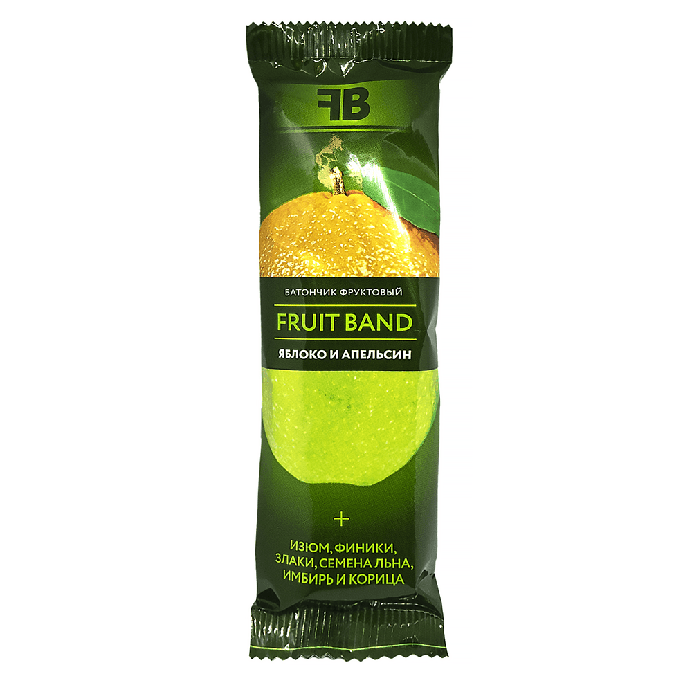 Батончик FRUIT BAND, яблоко/апельсин/лен, 40 г