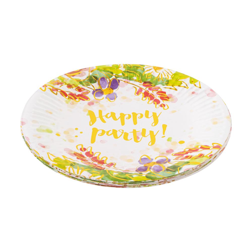 Тарелки бумажные праздничные, Party, 12 шт., в ассортименте