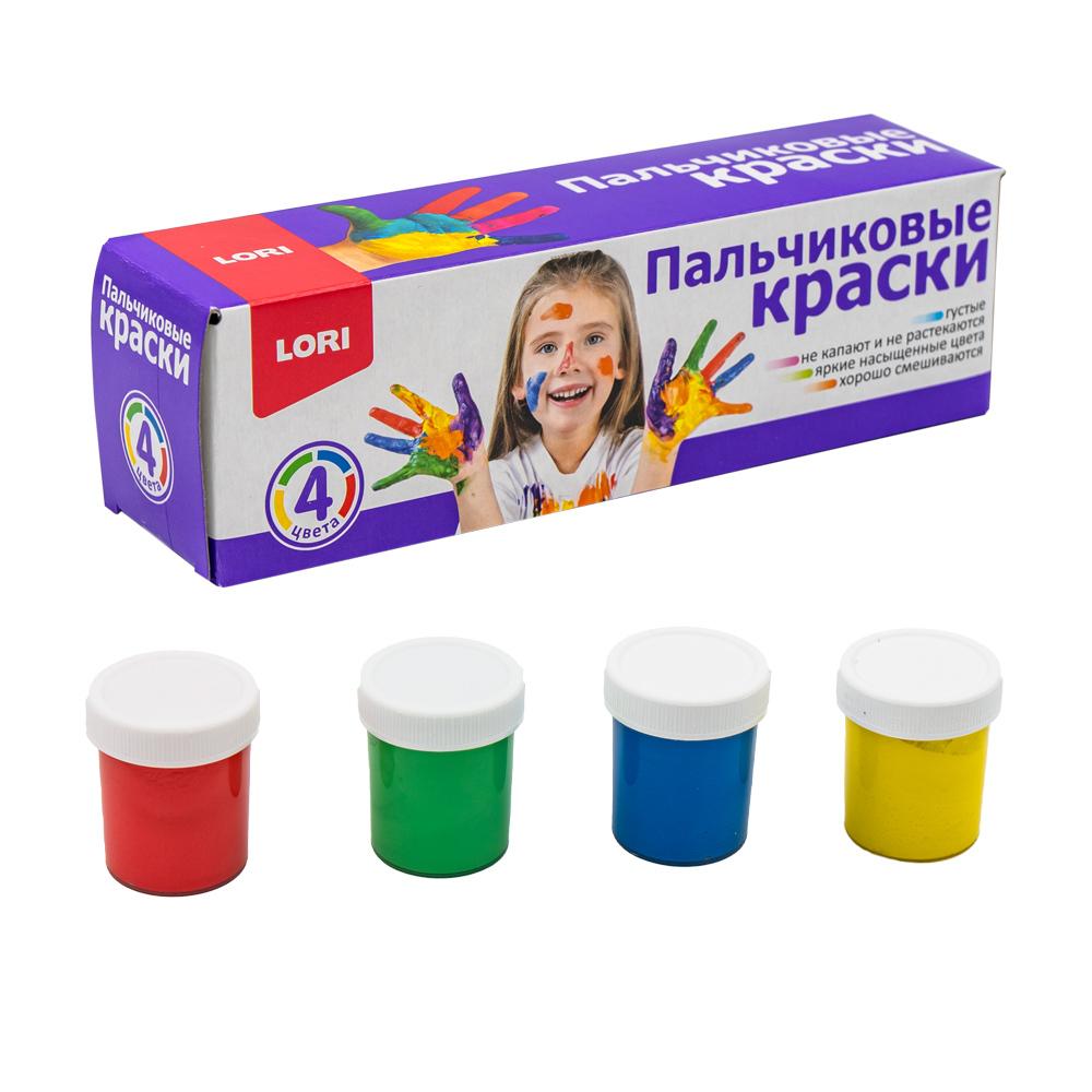 Пальчиковые краски, Lori, 4 цвета, 4х40 мл