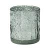 Подсвечник новогодний стеклянный, Снежное кружево, 8 см, в ассортименте