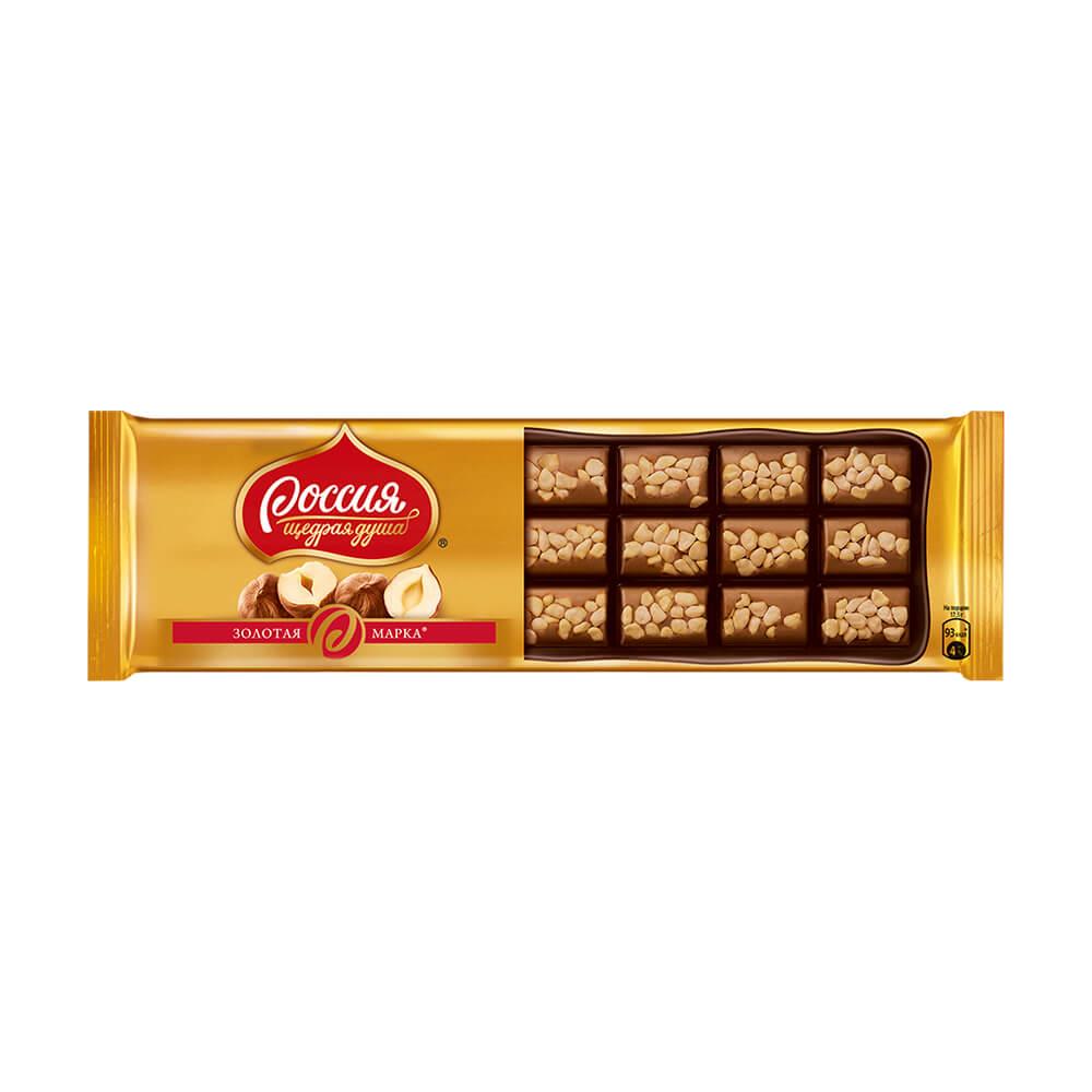 """Молочный шоколад """"Золотая марка"""" с фундуком, 140 г"""