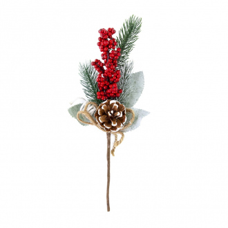 Ветка новогодняя декоративная, Снежное кружево, 29 см