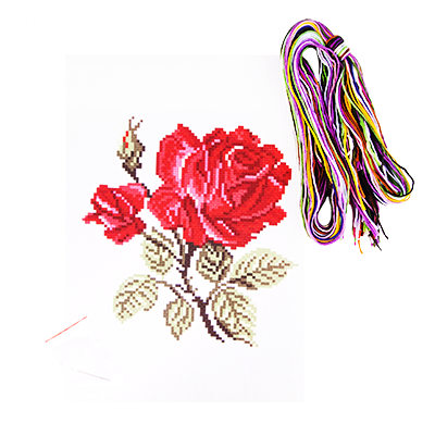 Набор для вышивания крестиком: канва, нитки мулине, игла, инструкция