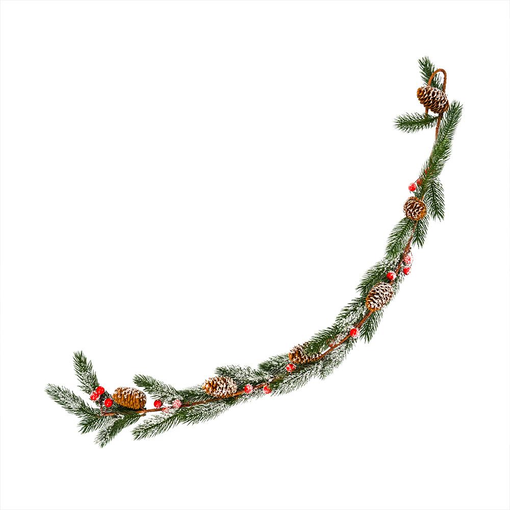 Ветка искусственная декоративная, Снежное кружево, 85 см