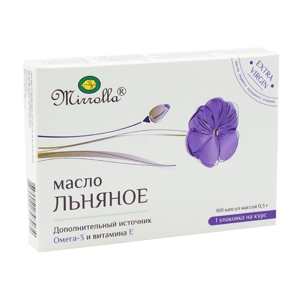 "БАД ""Масло Льняное"", Mirrolla, 100 капсул по 300 мг"