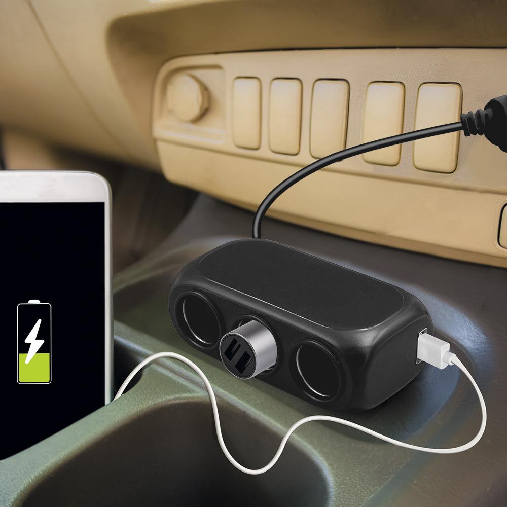 Разветвитель прикуривателя на 3 гнезда и 2 USB