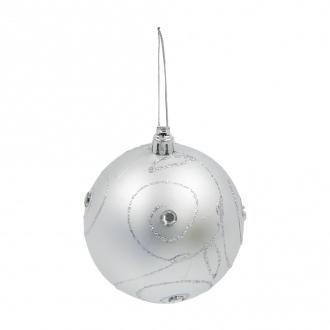 Шары елочные, Снежное кружево, 4 шт., 8 см, в ассортименте