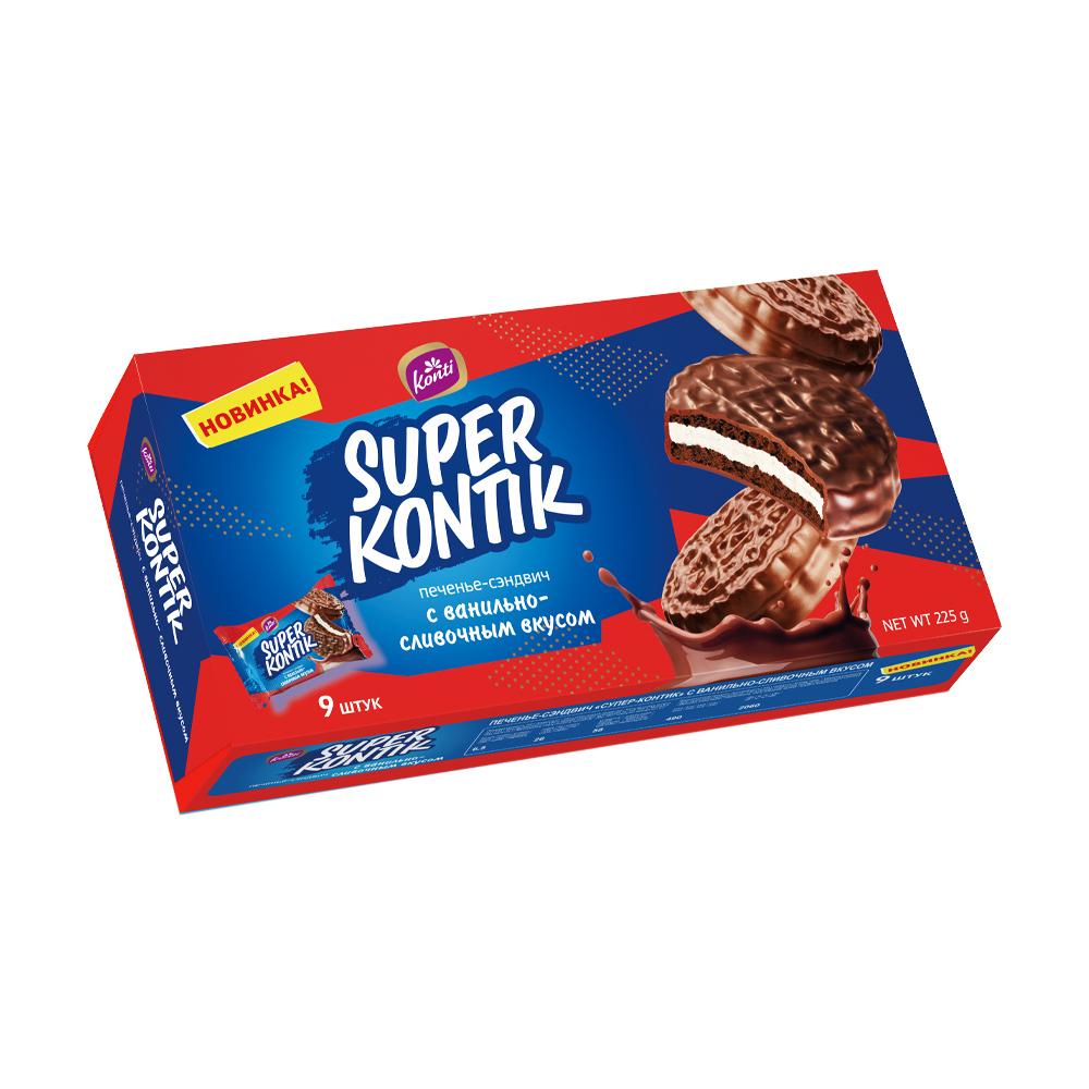"""Печенье-сэндвич """"Супер-Контик"""", 225 г, в ассортименте"""