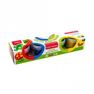 """Тесто для лепки """"Пластишка"""", Lori, 4 цвета, 4х80 г, в ассортименте"""