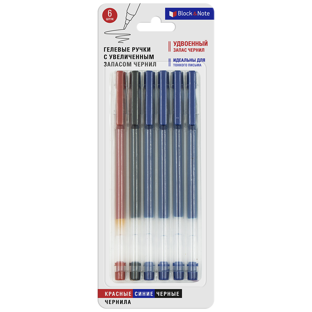 Гелевые ручки c увеличенным запасом чернил, Block&Note, 6 шт., в ассортименте