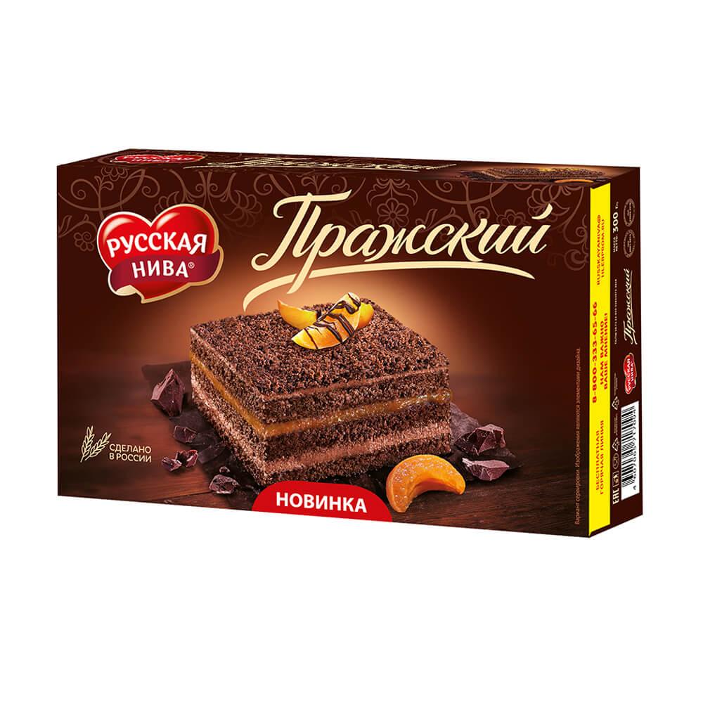 """Торт бисквитный """"Пражский"""", Русская Нива, 300 г"""